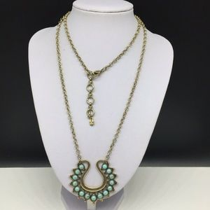 Lucky Brand Turquoise Cabochon Gold Tone Necklace
